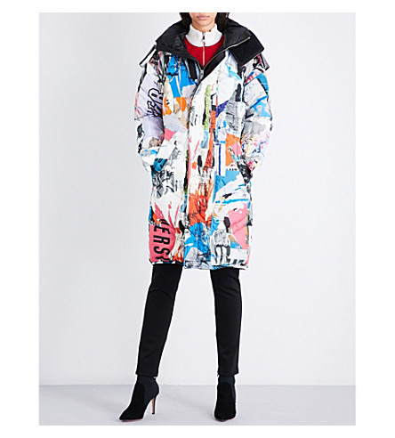 VERSUS VERSACE Abstract-pattern down and feather-blend puffer coat (Multi