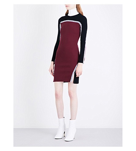 VERSUS VERSACE Panelled knitted dress (Black+bordeaux