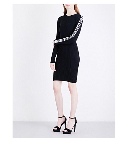 VERSUS VERSACE Logo-tape knitted dress (Black