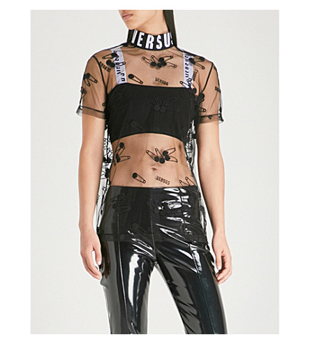 VERSUS VERSACE Logo and safety pin-embroidered tulle top (Black