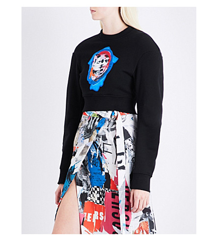 VERSUS VERSACE Patch-embroidered cropped cotton-jersey sweatshirt (Black