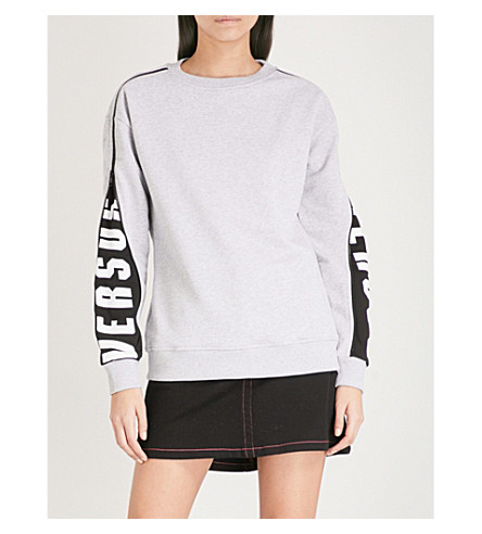 VERSUS VERSACE Logo-detail cotton-jersey sweatshirt (Light+grey