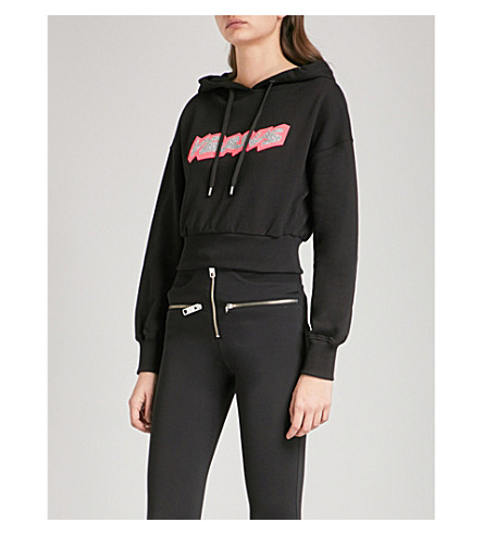 VERSUS VERSACE Logo-print cotton-jersey cropped hoody (Multi-coloured
