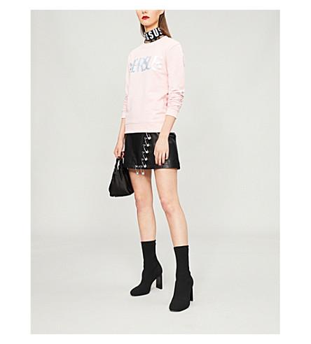 VERSUS VERSACE Glittered-logo cotton-jersey sweatshirt (Rosa