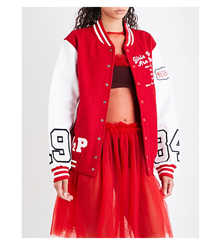 NICOPANDA Varsity wool-blend bomber jacket (Red