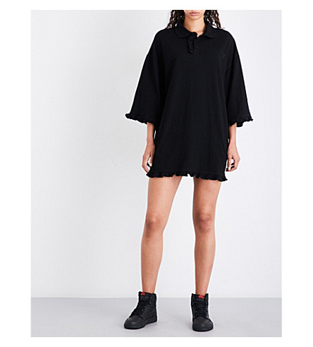 NICOPANDA Ruffled-cuffs cotton-piqué dress (Black