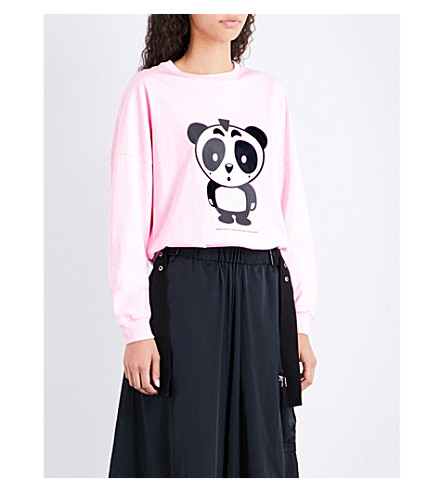 NICOPANDA Panda-print cotton-jersey top (Pink