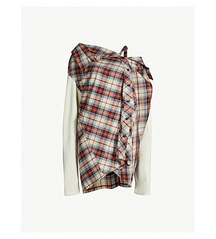 AMBUSH Cold-shoulder cotton-flannel and wool-blend dress (Beige