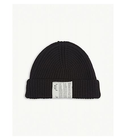 A-COLD-WALL Zipped merino wool-blend beanie (Black