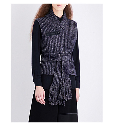 CRAIG GREEN Sleeveless ribbed fisherman-knit jumper (Navy+tweed