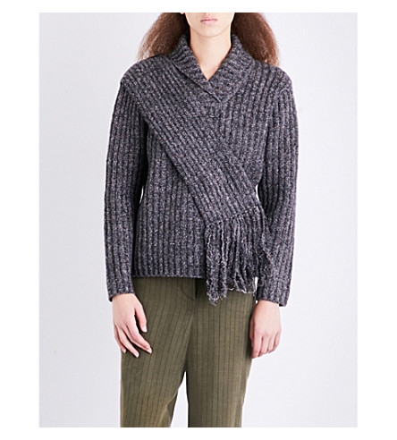 CRAIG GREEN Scarf-panel ribbed fisherman-knit jumper (Light+grey+tweed