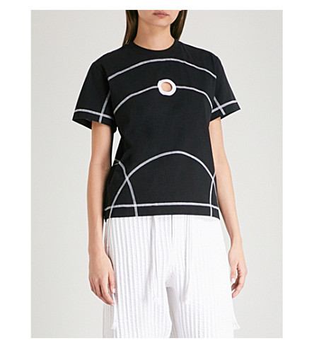 CRAIG GREEN Cutout cotton-jersey T-shirt (Black
