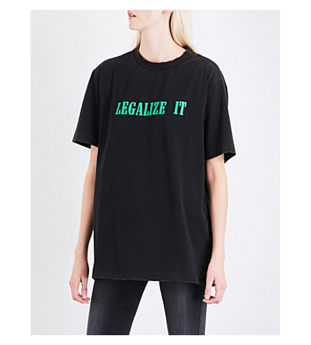 PALM ANGELS Legalize It cotton-jersey T-shirt (Black