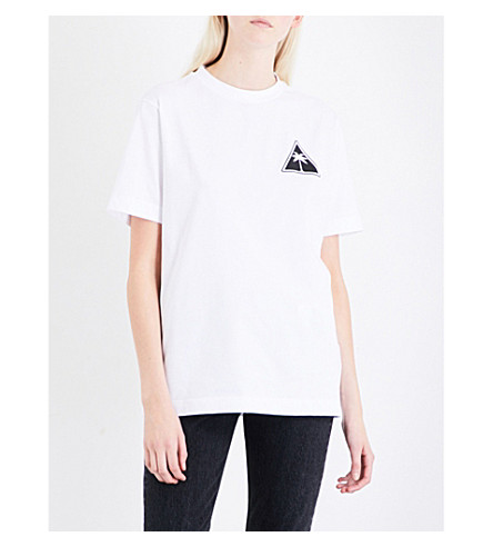 PALM ANGELS Palm Icon cotton-jersey T-shirt (White+blac