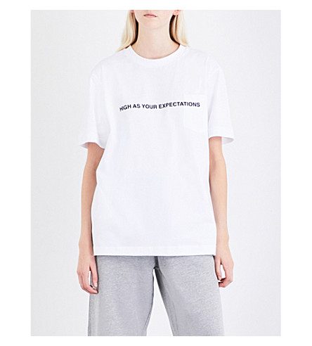 PALM ANGELS High As Your Expections cotton-jersey T-shirt (White