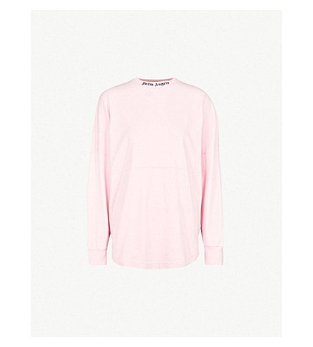 PALM ANGELS Logo-print cotton-jersey top (Pink
