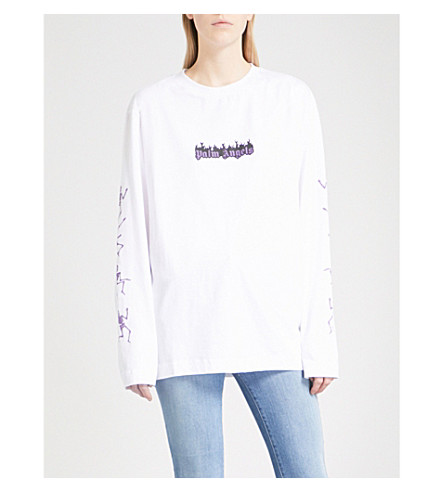 PALM ANGELS Dance of Death cotton-jersey top (White
