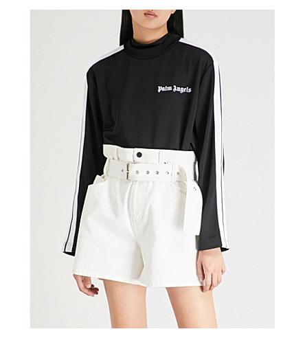 PALM ANGELS Logo-print jersey jumper (Black+white