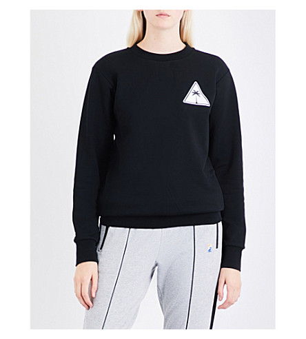 PALM ANGELS Palm Icon cotton-jersey sweatshirt (Black+white