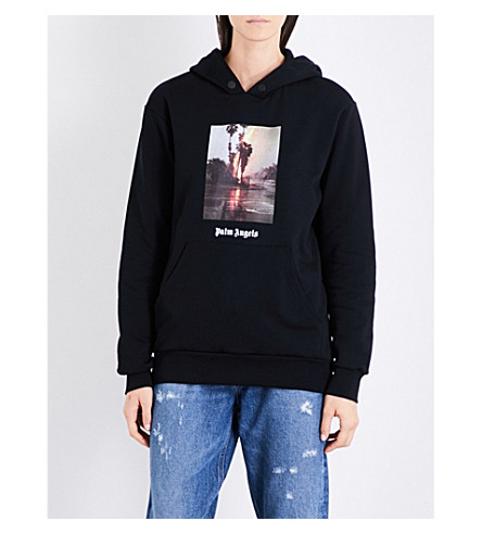 PALM ANGELS Burning cotton-jersey hoody (Black+multi