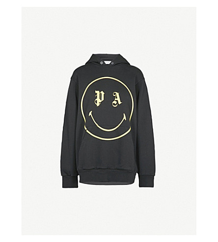 PALM ANGELS Smiley-print cotton-jersey hoody (Black