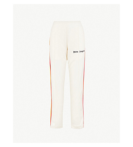 PALM ANGELS Side-stripe straight high-rise jersey jogging bottoms (White multi