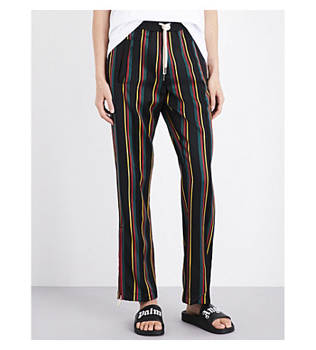 PALM ANGELS Striped relaxed-fit mid-rise wool and cotton-blend jogging bottoms (Multi