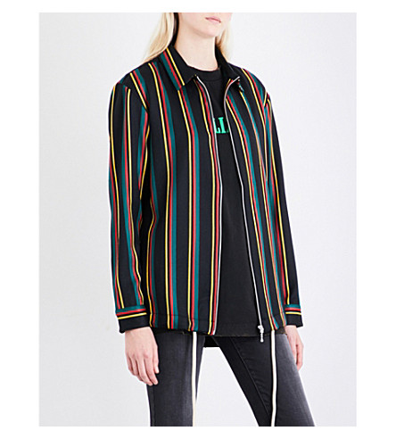 PALM ANGELS Coach striped wool and cotton shirt (Multi
