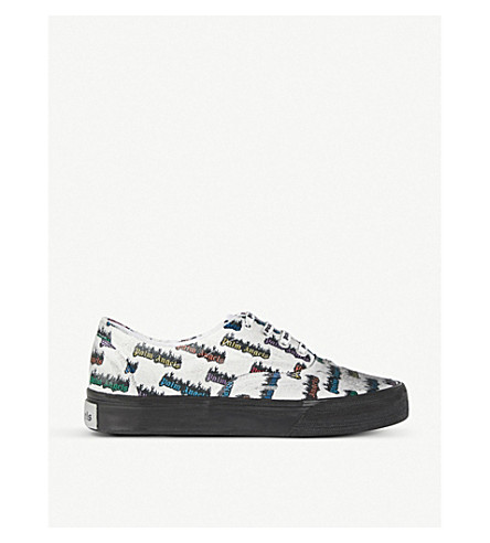 PALM ANGELS Logo-print distressed canvas trainers (White