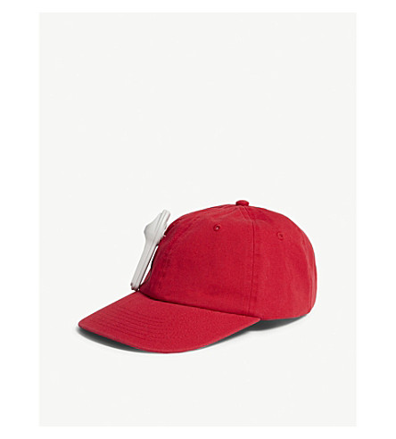 PALM ANGELS Anti-theft cotton strapback cap (Red