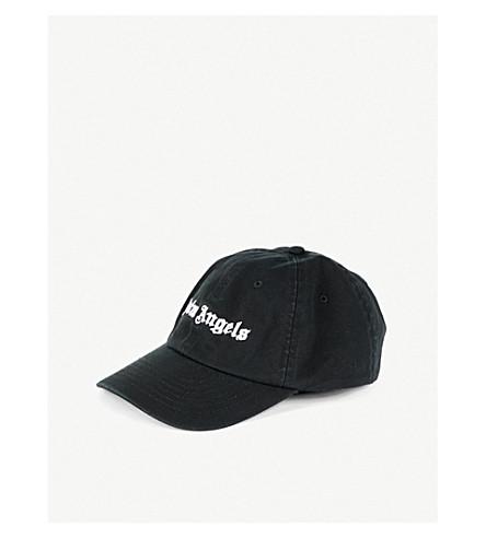 PALM ANGELS Logo-embroidered canvas strapback cap (Black