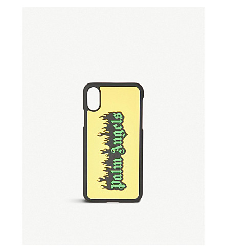 PALM ANGELS Burning logo-print iPhone 8 case (Yellow