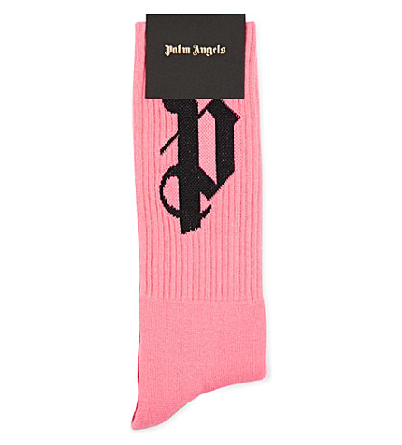 PALM ANGELS PA logo cotton-stretch socks (Pink+black