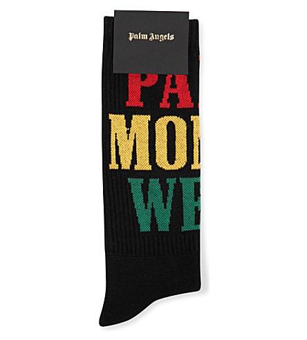 PALM ANGELS Money text socks (Black+multi