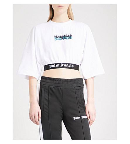 PALM ANGELS Logo-print cotton-jersey cropped top (White