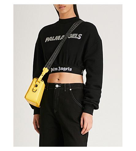 PALM ANGELS Cropped cotton-jersey sweatshirt (Black