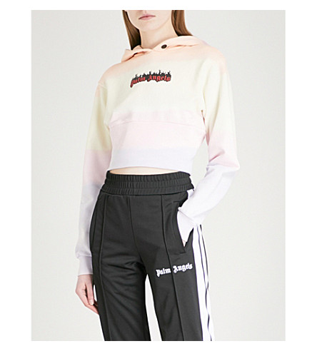 PALM ANGELS Burning Rainbow cropped cotton-jersey hoody (Multi
