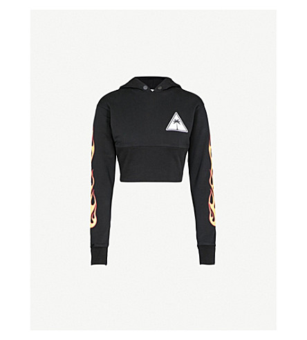PALM ANGELS Palms and Flames cotton-jersey hoody (Black