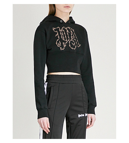 PALM ANGELS Barbwire cropped cotton-jersey hoody (Black+copper