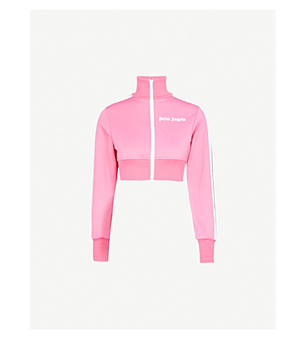 PALM ANGELS Striped-panel cropped jersey jacket (Pink