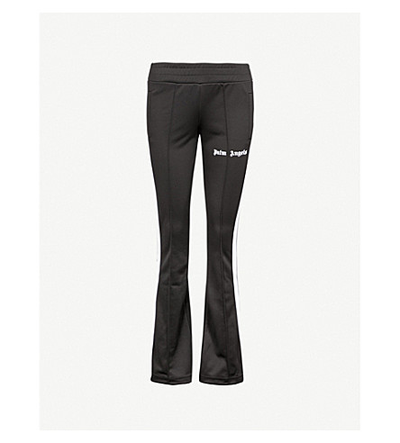 PALM ANGELS Side-stripe flared jersey jogging bottoms (Black