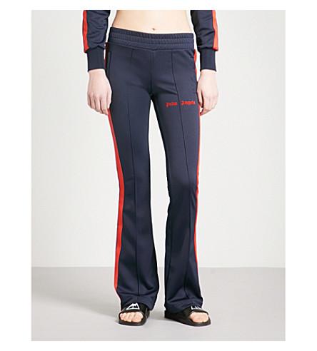 PALM ANGELS Side-stripe flared jersey jogging bottoms (Blue