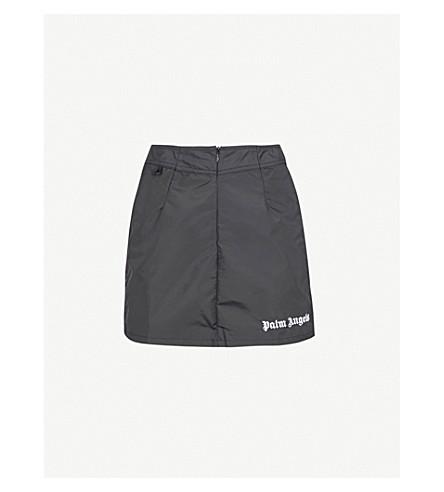 PALM ANGELS Sundek striped-detail shell mini skirt (Black+white