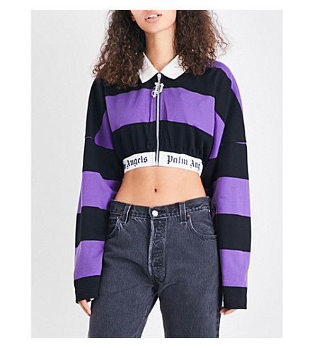 PALM ANGELS Striped cotton-jersey polo top (Purple