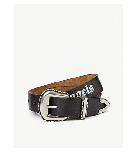 PALM ANGELS Logo leather belt (Black white