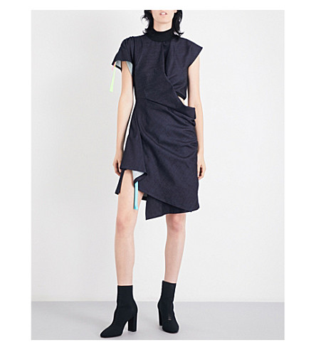 FYODOR GOLAN Draped stretch-jersey mini dress (Dark+blue