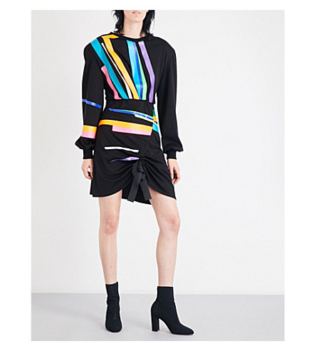 FYODOR GOLAN Rainbow Stripe stretch-jersey mini dress (Navy+rainbow