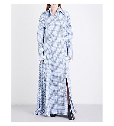 FYODOR GOLAN Check cotton maxi dress (Blue+white