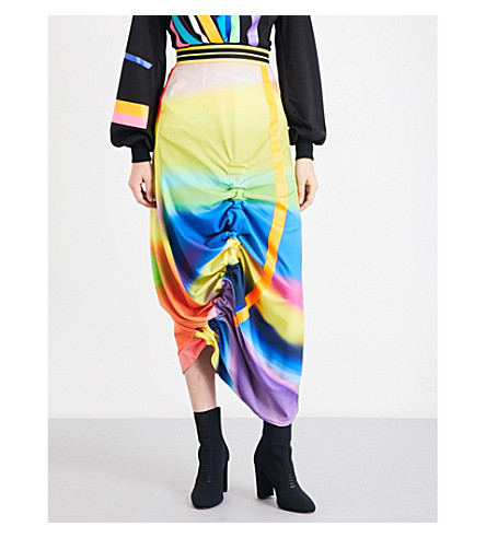 FYODOR GOLAN Tunnel spray paint-print crepe midi skirt (Spray+print