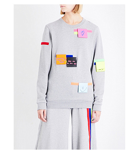 FYODOR GOLAN Post-It cotton-jersey top (Grey+multi